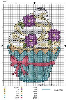 Cupcake with Purple Flowers Cupcake Cross Stitch, Cross Stitch Fruit, Cross Stitch Boards, Cross Stitch Kitchen, Cross Stitch Love, Cross Stitch Kits, Cross Stitch Designs, Cross Stitch Patterns, Cross Stitching