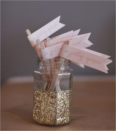 Glitter dipped jars to hold cocktail stirrers/straws/etc.