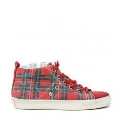 Sneaker Leather Crown in velour stampato tartan in velour rosso