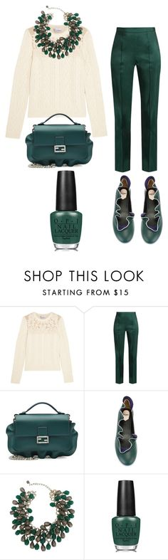 """Silk pants"" by subvilli ❤ liked on Polyvore featuring RED Valentino, Rosie Assoulin, Fendi, OPI, white, GREEN, fendi, silkpants and polyvorefashion"