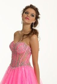 Strapless Illusion Beaded Long Corset Pink Prom Dress. White for a wedding dress. But short instead of long.