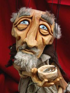 Beautiful woodwork on this marionette of a beggar