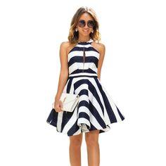Summer Dress Women 2017 Vintage Pinup Striped Dress Off Shoulder Patchwork  Pleated Swing Party Dresses Female 116f8edac5ea