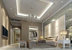 Decorations:Magnificent Bedroom Ceiling Decoration With Crystal Chandelier Idea Impressive Bedroom Ceiling Lights Ideas to Make The Room Ambience Relaxing