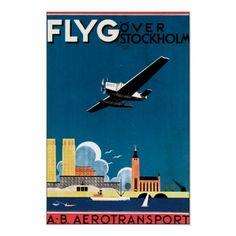 Vintage Stockholm Sweden Travel Poster