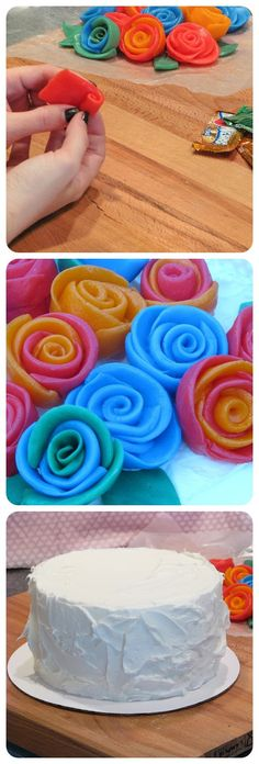 Airheads are not just your favorite candy—they're also easy and versatile tools for cake decorating! Spin and twist Airheads into gorgeous and colorful roses to top any delicious cake with. Diy Decoration, Decorations, Fruit Roll, Brave, Cupcakes, Cupcake Cookies, Cake Recipes, Dessert Recipes, Desserts