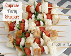 hip2thrift: Caprese Party Skewers {Recipe}
