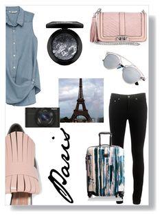 """Trip: Paris"" by jessica-stranges ❤ liked on Polyvore featuring rag & bone, Bobeau, Marni, Sony, Rebecca Minkoff, Tumi, MAC Cosmetics, Pink and paris"