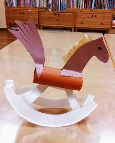 R is for a rocking horse... Paper plate, paper tube and some craft paper leftovers!