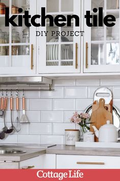 Doing a kitchen remodel? This DIY kitchen idea is the perfect way to update your space. #DIY #kitchenideas #kitchenremodel #kitchen #homeimprovement #tile #kitchentile #CottageLife Plywood Countertop, Tile Countertops, Kitchen Tile Diy, Kitchen Ideas, Unique Home Decor, Diy Design, Kitchen Remodel, Home Improvement, February