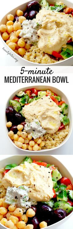 5-Minute Mediterranean Bowl - My Favorite Lunch Recipe! Try this healthy lunch recipe, it's also great to meal prep. You prepare everything and keep all parts in separate containers in the fridge (up to 3 days, except salad - but it takes only 2 minutes). Then arranging this beautiful & easy healthy bowl with quinoa & hummus takes around 5-minutes! It's vegan & gluten-free!Try it! www.beautybites.org/5-minute-mediterranean-bowl   healthy meal prep recipe   healthy salad recipe