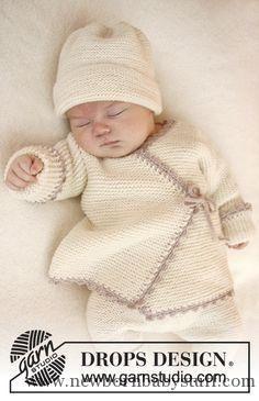 """Kraus rechts gestrickte DROPS JACKE aus """"Baby Merino"""" mit Umschlag und Häke... Baby Knitting Patterns"""