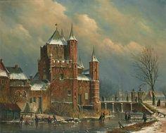 Oene Romkes de Jongh - Winters gezicht op de Amsterdamse Poort te Haarlem