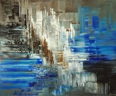 """Glacier XX1"" - 30""x36"" Palette knife abstract painting by Tatiana Iliina"