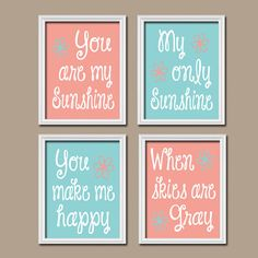 You Are My Sunshine Wall Art Canvas Artwork Peach Coral Aqua  Quote Flower Baby Crib NURSERY Song Print  Set of 4 Prints  Baby Decor