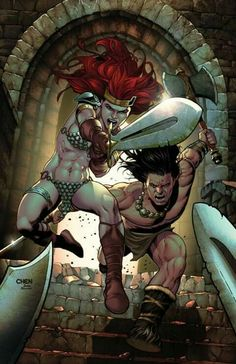 Here we have a look at the art for the Baltimore Comic-Con exclusive cover for Red Sonja / Conan from Dynamite and Dark Horse. Comic Books Art, Comic Art, Conan O Barbaro, Conan The Barbarian, Pulp, Red Sonja, Sword And Sorcery, Iron Age, Fantastic Art