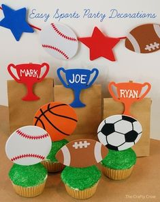 Cute & Easy DIY Sports party decorations & favors -- nice!