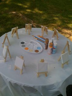 Painting activity for a kids party! So cute!