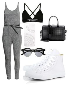 """Sans titre #273"" by anaisfashioon ❤ liked on Polyvore featuring H&M, Topshop, T By Alexander Wang, Yves Saint Laurent, Converse, Retrò and Monika Strigel"