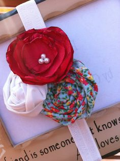 Ruby - Red, White and Blue Floral Rosette Headband- Newborn / Baby Girl Toddler - Great Photo Prop