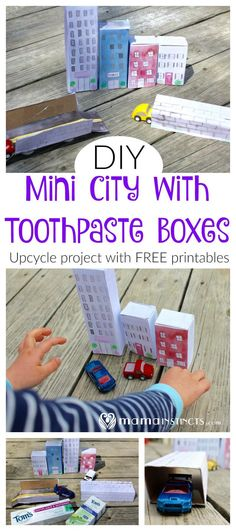 Join me and Tom's of Maine for the #LessWasteChallenge by pledging to reduce 1 pound of waste per week. Click for a fun DIY upcycle project using empty toothpaste boxes. Create this mini city for your kids. Free printables included.