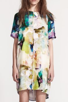 Brightly coloured, abstract fashion print dress; print & pattern fashion // LIFEwithBIRD