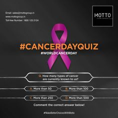 Q. How many types of cancer are currently known to us? a. More than 50 b. More than 100 c. More than 500 Comment the correct answer below! World Cancer Day..! #Motto #Tiles #mottogroup #Ceramic #FloorTiles #slabtiles #CeramicTiles #CeramicTile #SlabTile #Slab #Tile #Marbles #MarblePlus #WorldCancerDay #CancerDay #CancerDay2021 #IAmAndIWill #CancerAwareness #BeatCancer #CancerDayQuiz International Days, World Cancer Day, Beat Cancer, Types Of Cancers, Marbles, Cancer Awareness, Motto, The 100, Tiles