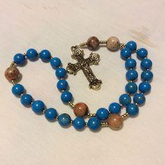 Blue Howlite weeks beads with Pyrite Quartz cruciform beads.