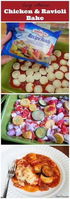 Easy Italian Chicken & Veggie Ravioli Bake - Mom Foodie (maybe use Meatballs or Italian sausage instead of chicken)