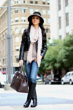 Leather jacket and knee high boot outfit inspiration via Maytedoll. #fallfashiontrends
