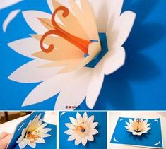 Pop up lotus card. Wouldn't a pop up here and there be a cute surprise in my art journal!: