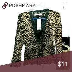 *Hot Little Leopard Blazer!* This is an Asian size M which is a small in the US. NWT. Never worn. Front pockets and a single button. Very fun and feisty! Jackets & Coats Blazers