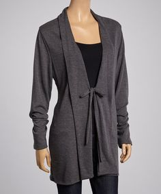 Look what I found on #zulily! Charcoal Tie-Front Cardigan #zulilyfinds