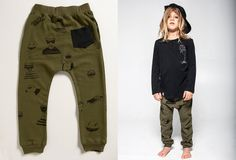 Drop Crotch Pants for kids blk pocket on green printed pants! black hendly long sleeve.