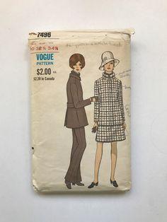 Taille du motif de couture Vintage Vogue 7496 10 buste hanche 32,5 34,5 soixante 60 ' s Mod veste jupe pantalon entonnoir cou couture haut tailleur cintrée par TinySparrowTreasures sur Etsy https://www.etsy.com/fr/listing/507090237/taille-du-motif-de-couture-vintage-vogue