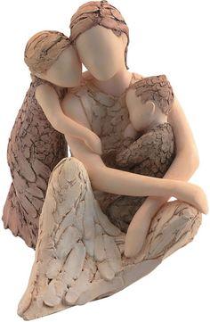 pink - mother and childs - sculpture Pottery Sculpture, Sculpture Clay, Ceramic Figures, Ceramic Art, Willow Tree Figurines, Sculptures Céramiques, Arte Popular, Mother And Child, Art Plastique