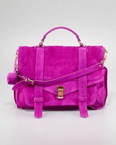 Proenza Schouler PS1 Large Suede Satchel Bag, Orchid - Bergdorf Goodman