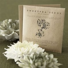 Seed packets from R K Allistone and Ceramic flowers from Plumo