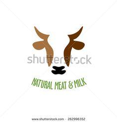 Cow head silhouette vector logo icon