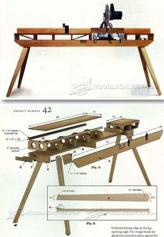Folding Miter Saw Table Plans - Miter Saw Tips, Jigs and Fixtures | WoodArchivist.com