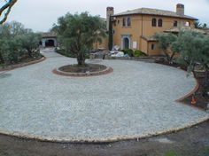 Concentric circle pattern, using antique reclaimed Historic Sidewalk Cobble®, Napa CA