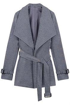 Big Lapel Fitted Belt Grey Coat #Romwe