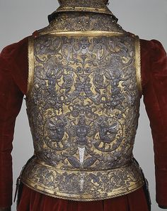 armor of Henry II of France (Back), Date:      about 1555  Culture:      French, possibly Paris  Medium:      Steel, embossed, blued, silvered, and gilt
