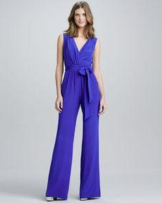 Silk Tie-Waist Jumpsuit by Shoshanna at Neiman Marcus.