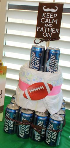 Bookmark this dads + diapers cake as an idea for your dad-chelor party.