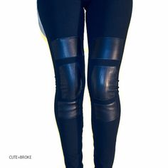 Leather patch leggings.