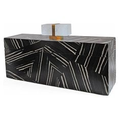 Large FLAIR exclusive custom rectangular box hand crafted of black and white zebra wood patchwork with a green leather interior. Finished with a hand cast brass and rock crystal handle. Handmade in Italy. #accessories #interiordesign