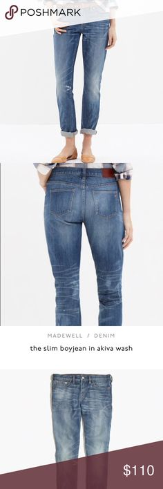 """NWOT Madewell Boyjean Akiva Wash A leaner take on Madewell's slouchy-meets-skinny Boyjean. Slouchy fit through hip, with a relaxed, slim leg. 9"""" rise. 98% cotton, 2% spandex. MSRP: $128 + tax.  NEW WITHOUT TAGS: Purchased last year and never wore them. """"Remove before washing"""" security feature still attached. No damage or stains (other than intentional paint splatter and wear generated by manufacturer).  Smoke and pet-free home! I often adjust my pricing during Posh parties and promos, keep…"""