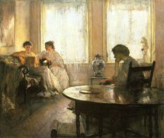 Three Girls Reading by Edmund Charles Tarbell (American, Girl Reading, National Gallery Of Art, Art Gallery, People Reading, Kunsthistorisches Museum, American Impressionism, Painting People, Monet, Victorian Art