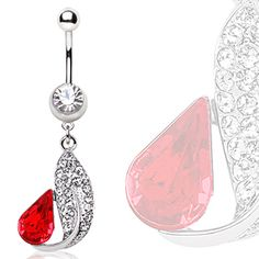 316L Surgical Steel Feather & Tear Drop Navel Ring